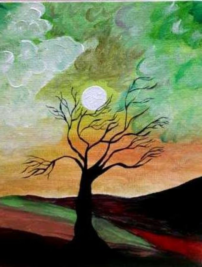 a color night, 20 x 40 inch, rahul  singh,paintings for dining room,nature paintings,ivory sheet,pencil color,20x40inch,GAL011783023Nature,environment,Beauty,scenery,greenery,trees,sun,beautiful,clouds