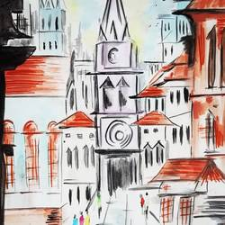 clock tower, 12 x 18 inch, shinam bedi,12x18inch,paper,paintings,cityscape paintings,modern art paintings,conceptual paintings,street art,paintings for dining room,paintings for living room,paintings for bedroom,paintings for office,paintings for bathroom,paintings for kids room,paintings for hotel,paintings for kitchen,paintings for school,paintings for hospital,watercolor,GAL01863230245