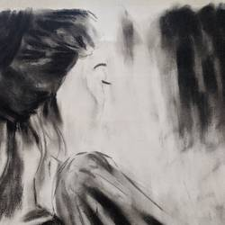 waiting is a game , 12 x 16 inch, sonam pama,12x16inch,thick paper,drawings,figurative drawings,charcoal,GAL01869630252