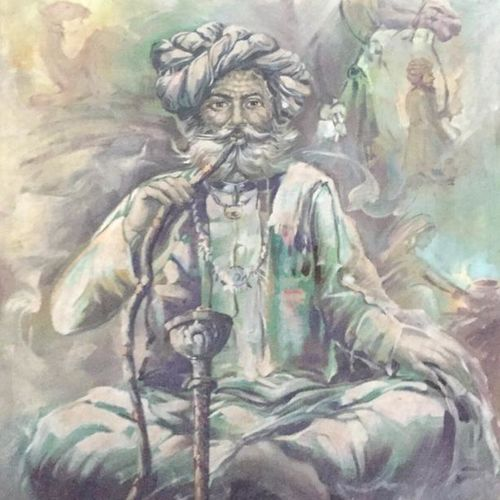 hukka, 27 x 30 inch, balbir art  gallery,27x30inch,canvas,paintings,figurative paintings,portrait paintings,portraiture,paintings for dining room,paintings for living room,paintings for bedroom,paintings for office,paintings for bathroom,paintings for hotel,oil color,GAL01076530265