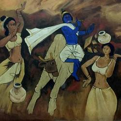 krishna with gopi, 36 x 30 inch, balbir art  gallery,36x30inch,canvas,paintings,abstract paintings,figurative paintings,folk art paintings,modern art paintings,portraiture,paintings for dining room,paintings for living room,paintings for office,paintings for hotel,oil color,GAL01076530268