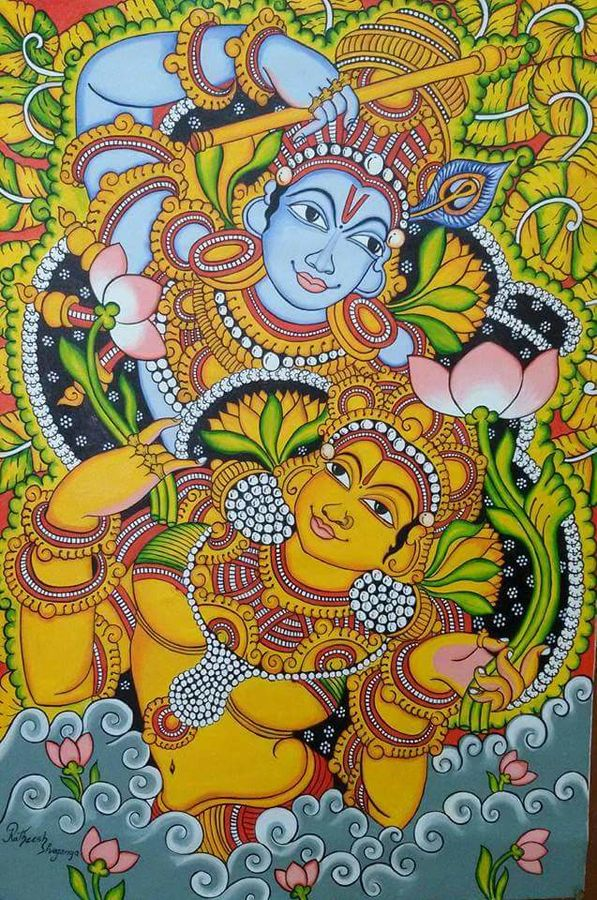 kerala mural, 33 x 45 inch, ratheesh kumar,religious paintings,paintings for living room,radha krishna paintings,kerala murals painting,canvas,oil,33x45inch,GAL011823028