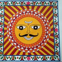 mithila art sun 2, 11 x 11 inch, geeta kwatra,11x11inch,drawing paper,paintings,folk art paintings,paintings for living room,paintings for hotel,acrylic color,mixed media,GAL0899130287