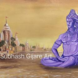 banaras ghat and lord shiva, 36 x 24 inch, subhash gijare,36x24inch,canvas,paintings,religious paintings,paintings for dining room,paintings for living room,paintings for office,paintings for kids room,paintings for hotel,paintings for kitchen,paintings for school,paintings for hospital,oil color,GAL013830292