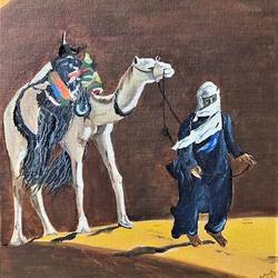 camel and master, 12 x 16 inch, subhash gijare,12x16inch,canvas,paintings,figurative paintings,landscape paintings,paintings for dining room,paintings for living room,paintings for bedroom,paintings for office,paintings for bathroom,paintings for kids room,paintings for hotel,paintings for kitchen,paintings for school,paintings for hospital,acrylic color,GAL013830294