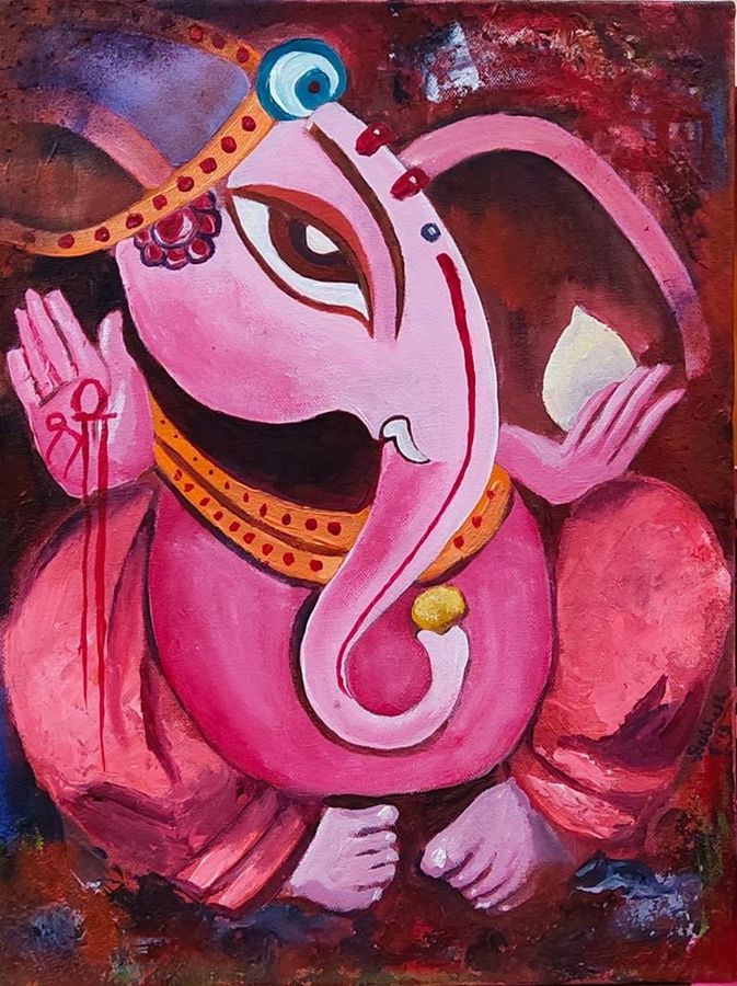 ganesha, 12 x 16 inch, subhash gijare,12x16inch,canvas,paintings,abstract paintings,religious paintings,ganesha paintings | lord ganesh paintings,paintings for dining room,paintings for living room,paintings for office,paintings for kids room,paintings for hotel,paintings for kitchen,paintings for school,paintings for hospital,acrylic color,GAL013830297