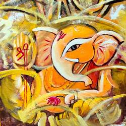 ganesha, 12 x 16 inch, subhash gijare,12x16inch,canvas,paintings,abstract paintings,religious paintings,ganesha paintings | lord ganesh paintings,paintings for dining room,paintings for living room,paintings for office,paintings for kids room,paintings for hotel,paintings for kitchen,paintings for school,paintings for hospital,acrylic color,GAL013830298