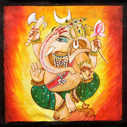 ganpati, 9 x 9 inch, neeraj parswal,religious paintings,paintings for office,ganesha paintings,canvas,acrylic color,9x9inch,GAL09303,vinayak,ekadanta,ganpati,lambodar,peace,devotion,religious,lord ganesha,lordganpati