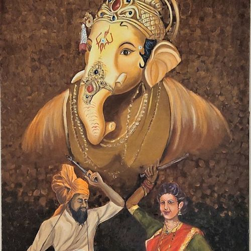 ganesha, 24 x 36 inch, subhash gijare,24x36inch,canvas,paintings,figurative paintings,religious paintings,ganesha paintings | lord ganesh paintings,paintings for dining room,paintings for living room,paintings for office,paintings for kids room,paintings for hotel,paintings for kitchen,paintings for school,paintings for hospital,oil color,GAL013830301