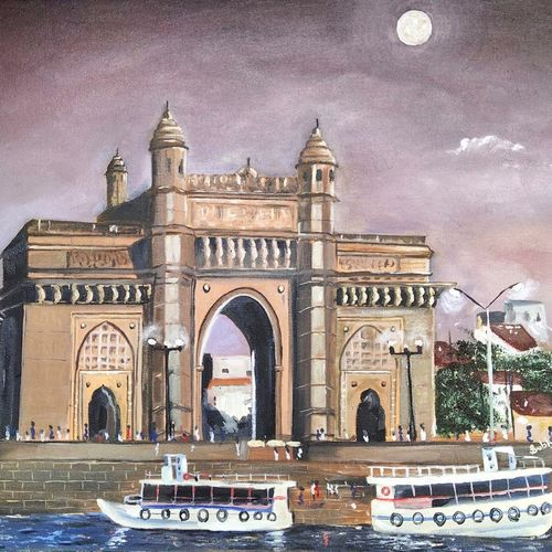 gateway of india, 20 x 16 inch, subhash gijare,20x16inch,canvas,paintings,landscape paintings,nature paintings | scenery paintings,realistic paintings,paintings for dining room,paintings for living room,paintings for bedroom,paintings for office,paintings for bathroom,paintings for kids room,paintings for hotel,paintings for kitchen,paintings for school,paintings for hospital,oil color,GAL013830304