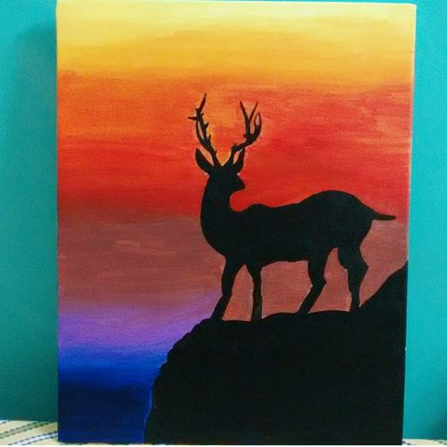 sunset, 10 x 12 inch, sohini ghosh,10x12inch,canvas,wildlife paintings,paintings for bedroom,paintings for bedroom,acrylic color,GAL01875130316