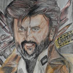 superstar rajinikanth, 12 x 16 inch, divya manoharan,12x16inch,thick paper,drawings,fine art drawings,charcoal,pencil color,paper,GAL01875430317