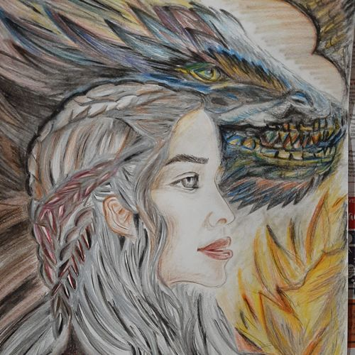 game of thrones khaleesi, 12 x 16 inch, divya manoharan,12x16inch,thick paper,drawings,figurative drawings,fine art drawings,impressionist drawings,photorealism drawings,portrait drawings,paintings for living room,paintings for hotel,charcoal,pencil color,paper,GAL01875430319