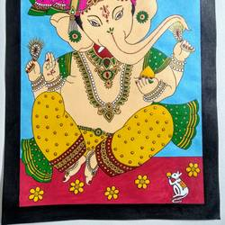 ganpatiji, 11 x 15 inch, geeta kwatra,11x15inch,handmade paper,paintings,religious paintings,ganesha paintings | lord ganesh paintings,paintings for dining room,paintings for hotel,acrylic color,mixed media,GAL0899130320