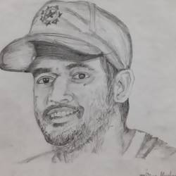 thala dhoni, 9 x 10 inch, divya manoharan,9x10inch,paper,drawings,fine art drawings,portrait drawings,graphite pencil,paper,GAL01875430323