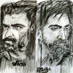 art of still vikram vedha , 9 x 11 inch, divya manoharan,9x11inch,paper,drawings,dada drawings,fine art drawings,portrait drawings,street art,charcoal,graphite pencil,paper,GAL01875430324