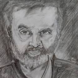 superstar rajinikanth, 9 x 11 inch, divya manoharan,9x11inch,paper,drawings,fine art drawings,portrait drawings,charcoal,graphite pencil,paper,GAL01875430325