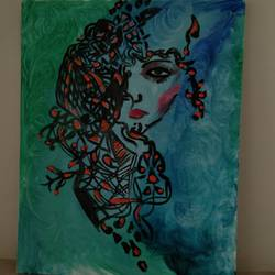 the onesided masked woman, 16 x 20 inch, sanya arora,16x20inch,canvas,paintings,abstract paintings,acrylic color,GAL01811630337