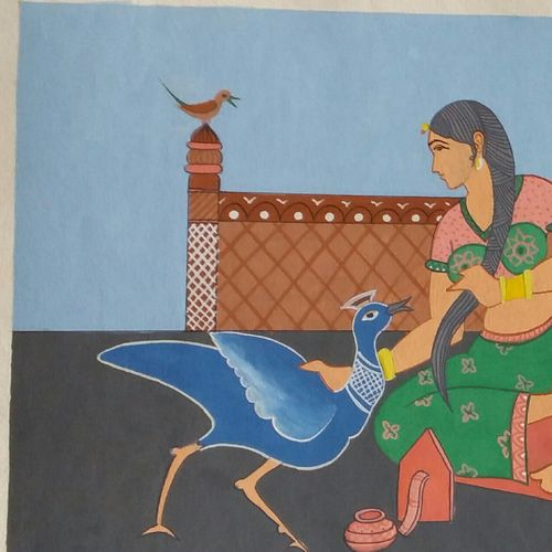 kesh kalap , 13 x 15 inch, dixit solanki ,flower paintings,paintings for living room,paper,poster color,13x15inch,GAL011313034