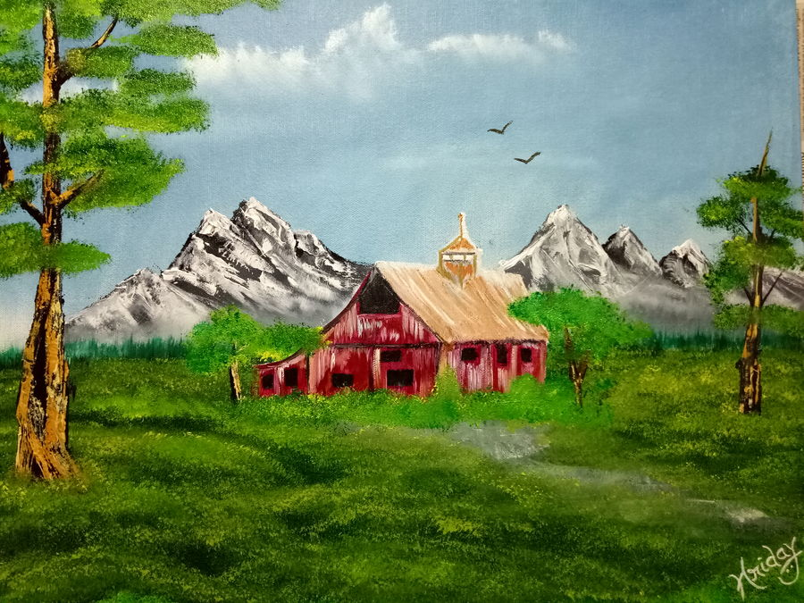 Forest red barn