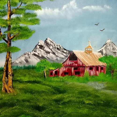 forest red barn, 18 x 14 inch, hriday  das,nature paintings,paintings for living room,canvas board,oil,18x14inch,GAL09833035Nature,environment,Beauty,scenery,greenery