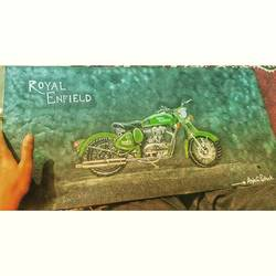 royal enfield, 11 x 22 inch, anjali pathak,11x22inch,canvas,paintings,illustration paintings,photorealism paintings,paintings for living room,paintings for hotel,acrylic color,GAL01880230358
