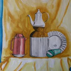 steel life , 13 x 15 inch, dixit solanki ,still life paintings,paintings for dining room,paper,watercolor,13x15inch,GAL011313036