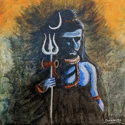 mahadev, 10 x 12 inch, paramita batabyal,10x12inch,canvas board,paintings,figurative paintings,religious paintings,lord shiva paintings,paintings for living room,paintings for bedroom,acrylic color,GAL01880130365