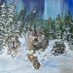 the pack, 10 x 12 inch, paramita batabyal,10x12inch,canvas board,wildlife paintings,landscape paintings,animal paintings,paintings for living room,paintings for living room,acrylic color,GAL01880130367
