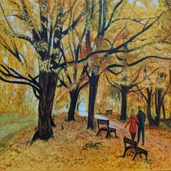 fall colours 1, 16 x 20 inch, paramita batabyal,16x20inch,canvas,paintings,landscape paintings,nature paintings | scenery paintings,paintings for living room,acrylic color,GAL01880130368