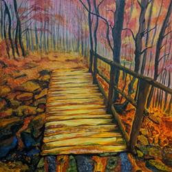 fall colours 2, 16 x 20 inch, paramita batabyal,16x20inch,canvas,paintings,landscape paintings,nature paintings | scenery paintings,paintings for living room,acrylic color,GAL01880130369