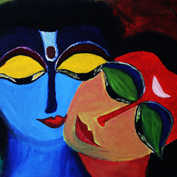 colourful silence, 39 x 57 inch, lopamudra ghosh,39x57inch,canvas,paintings,figurative paintings,conceptual paintings,religious paintings,radha krishna paintings,paintings for dining room,paintings for living room,paintings for bedroom,oil color,GAL01878830371