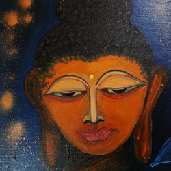 meditating buddha, 40 x 50 inch, lopamudra ghosh,40x50inch,canvas,paintings,buddha paintings,figurative paintings,religious paintings,paintings for dining room,paintings for living room,paintings for bedroom,paintings for office,paintings for kids room,paintings for hotel,paintings for kitchen,paintings for school,paintings for hospital,oil color,GAL01878830372
