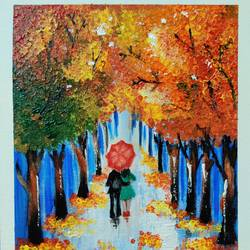 couple under umbrella, 10 x 12 inch, madhavi neerukattu,10x12inch,canvas,nature paintings | scenery paintings,love paintings,paintings for living room,paintings for living room,acrylic color,GAL01881130376