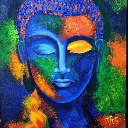 colour ful budha, 12 x 16 inch, madhavi neerukattu,12x16inch,canvas,paintings,buddha paintings,paintings for living room,paintings for office,paintings for hotel,acrylic color,GAL01881130377