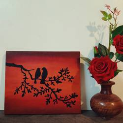 love birds painting, 10 x 12 inch, kanchan kadlag,10x12inch,canvas,paintings,nature paintings | scenery paintings,animal paintings,love paintings,paintings for dining room,paintings for living room,paintings for bedroom,paintings for hotel,paintings for hospital,acrylic color,GAL01847530385