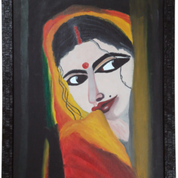 curious woman, 40 x 60 inch, lopamudra ghosh,40x60inch,canvas,paintings,abstract paintings,figurative paintings,folk art paintings,conceptual paintings,portrait paintings,paintings for dining room,paintings for living room,paintings for bedroom,paintings for office,paintings for hotel,oil color,GAL01878830393