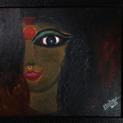 the two aspects of a woman, 35 x 45 inch, lopamudra ghosh,35x45inch,canvas,paintings,figurative paintings,folk art paintings,landscape paintings,paintings for dining room,paintings for living room,paintings for bedroom,paintings for hotel,oil color,GAL01878830397