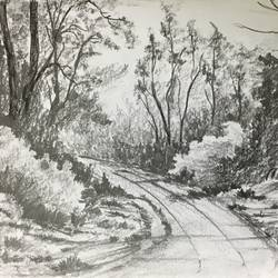 village road, 11 x 7 inch, shankhadeep  mondal,11x7inch,thick paper,paintings,landscape paintings,paintings for dining room,paintings for living room,paintings for bedroom,paintings for office,paintings for bathroom,paintings for kids room,paintings for hotel,paintings for kitchen,paintings for school,paintings for hospital,pencil color,GAL01403030398