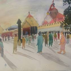 jaggannath temple, 15 x 11 inch, satyabrata parhi,paintings for living room,religious paintings,thick paper,watercolor,15x11inch,GAL011633040