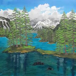 a paradise in blue waters, 30 x 24 inch, prateek katariya,30x24inch,canvas board,paintings,landscape paintings,acrylic color,GAL01884930404