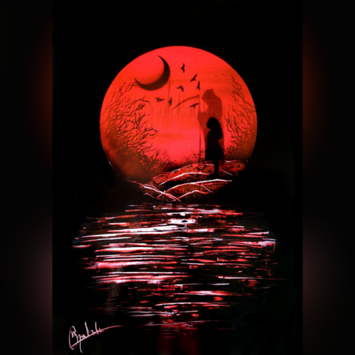 the eclipse before dawn - spray painting, 21 x 29 inch, mihir godbole,21x29inch,thick paper,paintings,abstract paintings,figurative paintings,landscape paintings,conceptual paintings,minimalist paintings,pop art paintings,paintings for bedroom,paintings for office,acrylic color,GAL01882130412