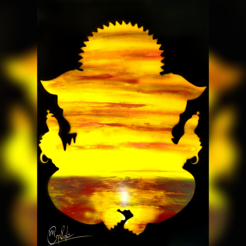 sunset with ganesha - spray painting, 21 x 29 inch, mihir godbole,21x29inch,thick paper,paintings,abstract paintings,figurative paintings,landscape paintings,conceptual paintings,religious paintings,nature paintings | scenery paintings,minimalist paintings,ganesha paintings | lord ganesh paintings,paintings for dining room,paintings for living room,paintings for bedroom,paintings for office,paintings for hotel,paintings for school,paintings for hospital,acrylic color,GAL01882130416