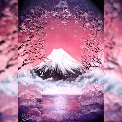 sakura - cherry blossom morning - spray painting, 21 x 29 inch, mihir godbole,21x29inch,thick paper,paintings,landscape paintings,nature paintings | scenery paintings,surrealism paintings,paintings for dining room,paintings for living room,paintings for bedroom,paintings for office,paintings for kids room,paintings for hotel,paintings for school,paintings for hospital,acrylic color,GAL01882130417
