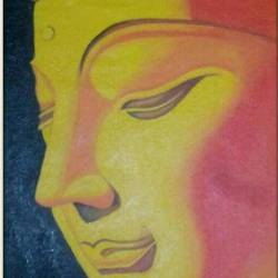 budha, 17 x 22 inch, ratheesh kumar,buddha paintings,paintings for living room,canvas,oil,17x22inch,religious,peace,meditation,meditating,gautam,goutam,buddha,orange,GAL011823042