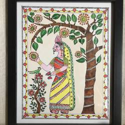 happiness, 9 x 10 inch, meghana verulkar,9x10inch,paper,paintings,figurative paintings,art deco paintings,madhubani paintings | madhubani art,paintings for dining room,paintings for living room,paintings for bedroom,paintings for office,paintings for hotel,pen color,poster color,paper,GAL01261530422