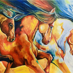 vibrant raging horses, 36 x 24 inch, augustine devotta,36x24inch,canvas,paintings,horse paintings,paintings for living room,paintings for office,paintings for hotel,oil color,GAL0695430424