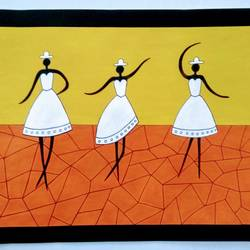 dancing girls 2, 16 x 12 inch, geeta kwatra,16x12inch,ivory sheet,paintings,abstract paintings,paintings for living room,paintings for hotel,acrylic color,mixed media,GAL0899130425