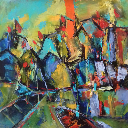ghats & boats, 23 x 23 inch, prasanta acharjee,23x23inch,canvas,paintings,abstract paintings,cityscape paintings,modern art paintings,nature paintings | scenery paintings,abstract expressionism paintings,expressionism paintings,paintings for dining room,paintings for living room,paintings for bedroom,paintings for office,paintings for hotel,paintings for kitchen,paintings for hospital,acrylic color,GAL0360530427