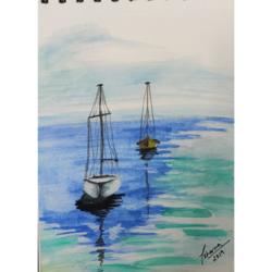 sailboats, 8 x 6 inch, priyanshu sharma,8x6inch,drawing paper,paintings,landscape paintings,nature paintings | scenery paintings,paintings for dining room,paintings for living room,paintings for bedroom,paintings for office,paintings for hotel,paintings for school,paintings for hospital,watercolor,GAL0973630429